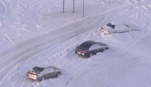 cars stranded in snow roadside emergency